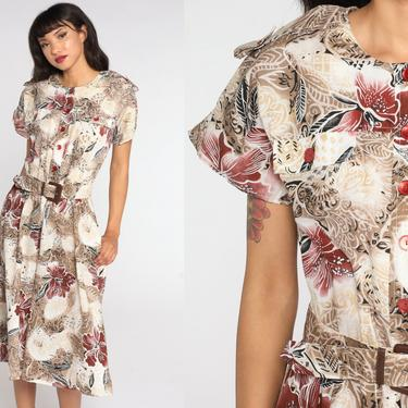 Tropical Floral Dress Hawaiian 80s Midi Boho Button Up Vintage 1980s High Waisted Hibiscus Taupe White Shirtdress Short Sleeve Large L by ShopExile