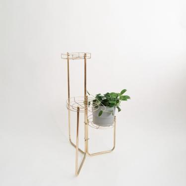 Vintage Gold Toned Three Tier Metal Plant Stand by ShopLantanaLane