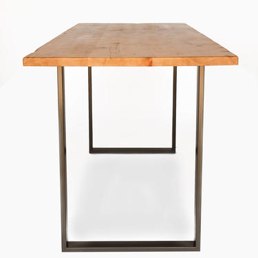 Solid Wood Counter Height or Bar Height Dining Table- U steel base & reclaimed wood top. Choose height, size, thickness, finish by UrbanWoodGoods