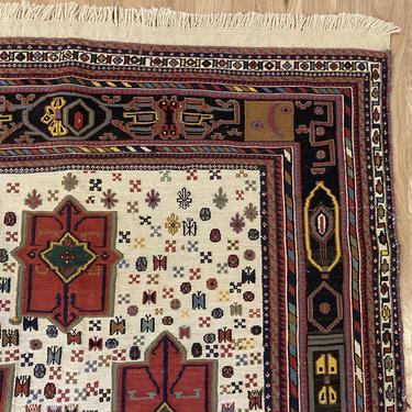 Vintage Rug 3' 8 x 5' 8 White Tribal Soumak Oriental Rug by JessiesOrientalRugs