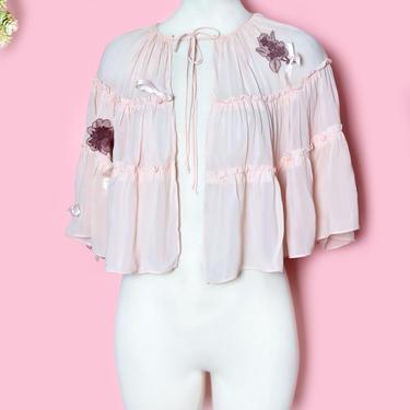 1920's Pink Silk Cape Jacket, Vintage Antique Flapper Blouse Jacket, Top, Shirt, Peach, Bed Jacket Lingerie Appliques Bows 1930's by Boutique369