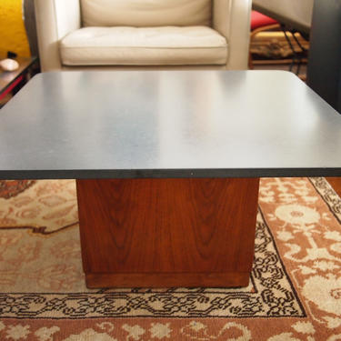 """Vintage FOUNDERS Jack Cartwright SLATE Coffee Side TABLE, 32"""" Square 16""""H, Gray Walnut Mid-Century Modern Baughman danish knoll eames era by refugegallery"""