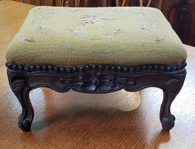 Item #AI34 Carved French Walnut Footstool c.1920