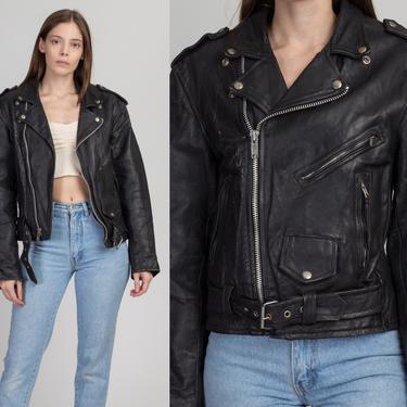 Vintage Black Leather Moto Jacket - Size 38   80s 90s Unisex Sea Dream Biker Motorcycle Coat by FlyingAppleVintage