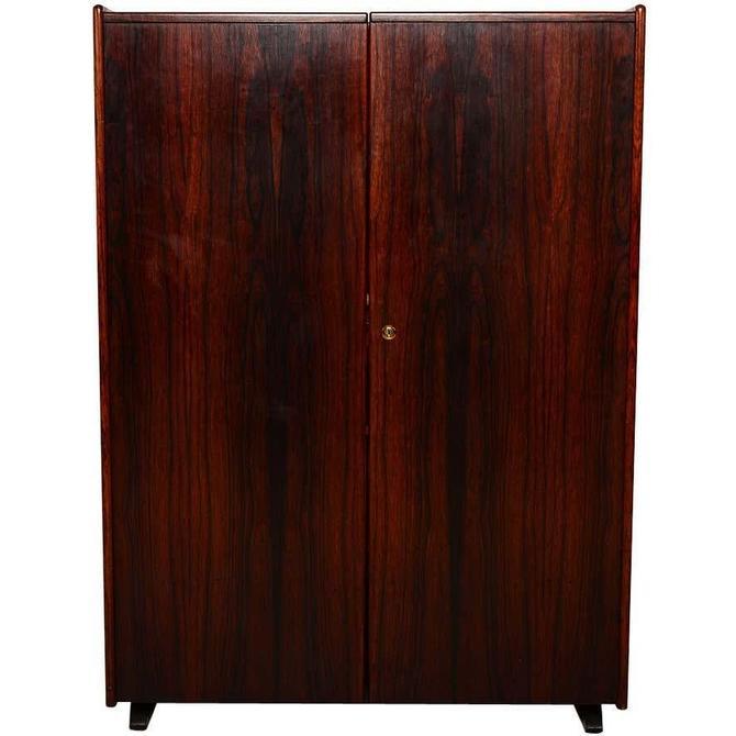 Danish Modern Sleek Rosewood Hideaway Desk Cabinet, Kofod Larsen by AMBIANIC