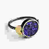 Indigo Blue Drusy Sweetheart Ring- Indigo Purple Drusy Ring with Hearts by RachelPfefferDesigns
