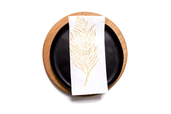 Feather White Linen Dinner Napkin in Gold