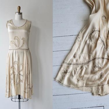 Lusianne silk dress   antique 1920s wedding dress   silk beaded 20s dress by DEARGOLDEN