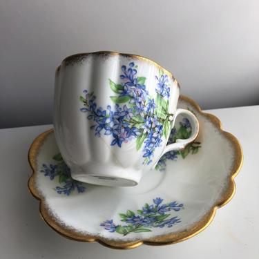 Vintage Teacup and Saucer Set Forget-Me-Not Flowers with Gold Trim, Fine Bone China by Taylor & Kent, England by AMORVINTAGESHOP