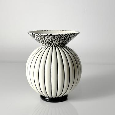 Vintage Signed Michael Duvall Postmodern Ceramic Vase 1980s by 20cModern