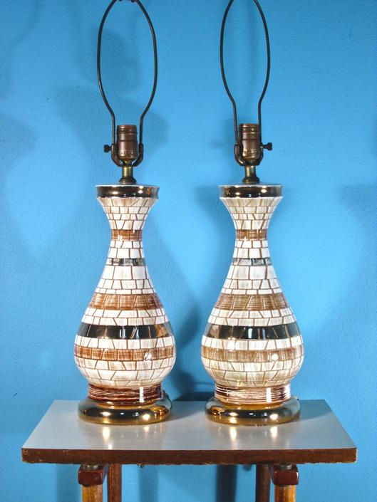 Mcm Ceramic Lamp Pair Vintage 1950s White And Gold Pottery Lighting Table Lamps Mid Century Modern By