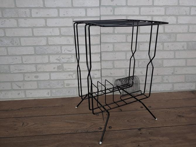 Mid Century Black Wire Record Player Record Rack Stand by RedsRustyRelics