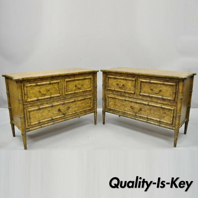 Pair Vintage English Campaign Style Faux Bamboo Nightstands Low Chests by Irwin