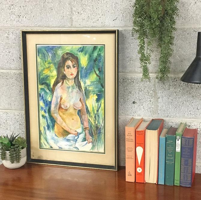 Vintage Nude Watercolor 1960s Retro Size 26x18 Abstract Style Nude Female Portrait Painting + Glass Front + Wood Frame + MCM Home Wall Decor by RetrospectVintage215