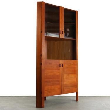 Danish Mid Century Modern Teak Corner Cabinet with Smoked Glass Doors by ABTModern