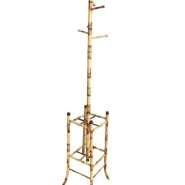 Mid Century Tiger Bamboo Coat Rack w/ Umbrella Stand by HarveysonBeverly