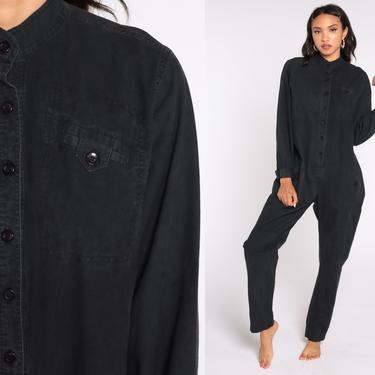 80s Jumpsuit Black Button Up Straight Leg Pants Jumpsuit Grunge Pantsuit Vintage Long Sleeve Romper Pants Large L by ShopExile