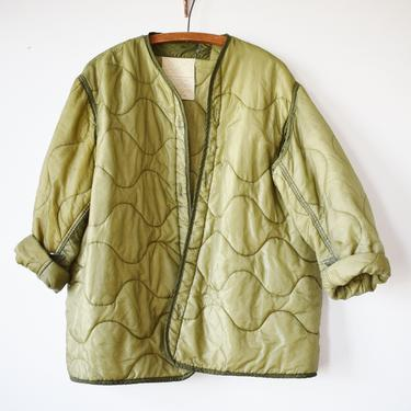 Vintage Military Liner Jacket | 1980s-90s| S/M/L | 3 | 1980s \ 1990s Green Quilted Nylon Lightweight Jacket by wemcgee