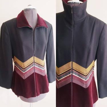 1990s French Designer Wool and Velvet Blazer Zipup Front /90s Jacket A la Bonne Renommee Paris Black Burgundy Mustard Yellow / S / Arabella by RareJuleVintage