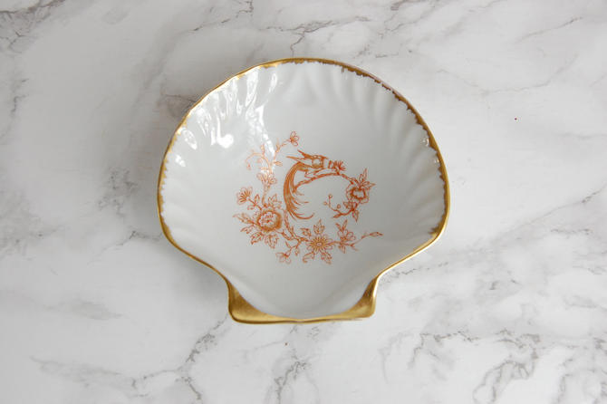 Limoges Porcelain Shell Dish - Porcelain Ring Dish - Gilt Limoges France Porcelain Dish by PursuingVintage1