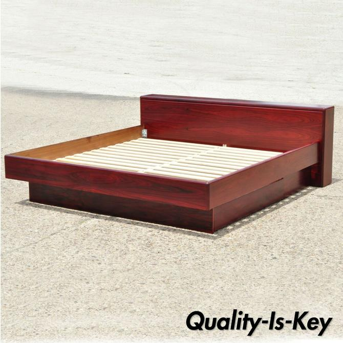 Rosewood Mid Century Danish Modern King Size Platform Storage Bed by Mobican