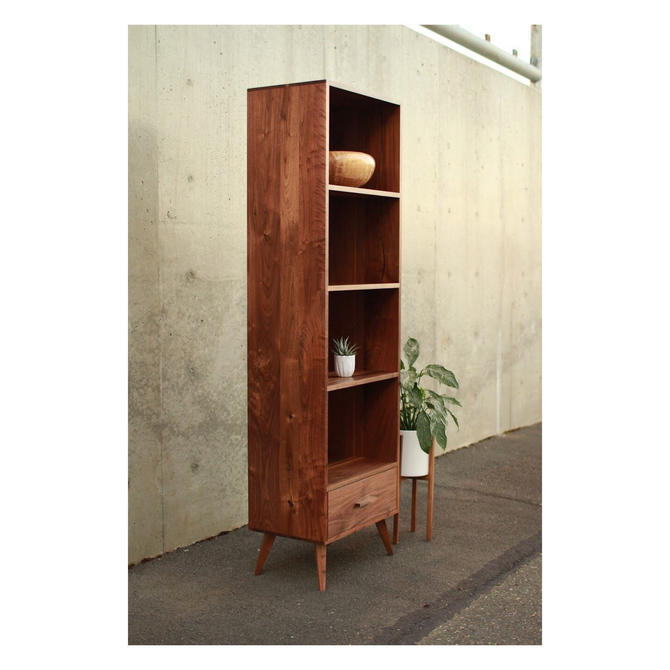 Fullstack Bookcase, Mid-Century Modern, Mid Century, Bookshelf, Vinyl Storage (shown in walnut) by TomfooleryWood