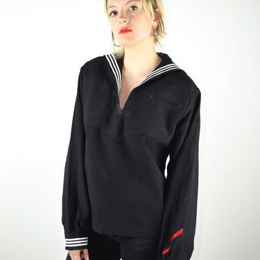 Vintage 40s Jacket US Navy Sailor Shirt Top Uniform Black Wool Black / 1940s Vintage WWII Shirt / Rockabilly Pin Up Pinup VLV Small Medium by ErraticStaticVintage