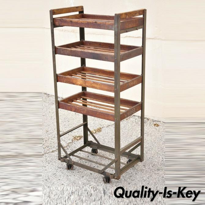 Vintage American Industrial Steel Metal and Wood Rolling Shop Work Cart Stand