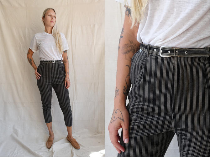 Vintage 50s Pinstripe Corduroy Cigarette Pants with Matching Waist Belt/ 1950s 1960s Grey Black Striped High Waisted Trousers/ Size 26 Small by bottleofbread