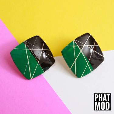 Rad Vintage 80s 90s Green Black White Square Abstract Geometric Earrings by RETMOD