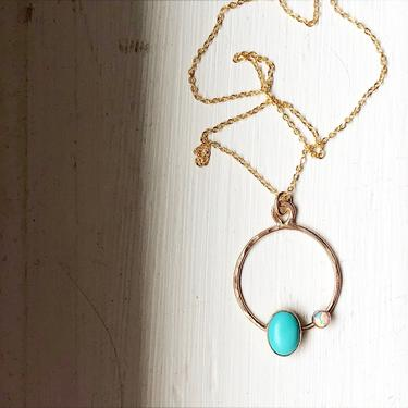 Morenci Turquoise and Opal Orbit Pendant in 14k Gold Filled Metal by RachelPfefferDesigns