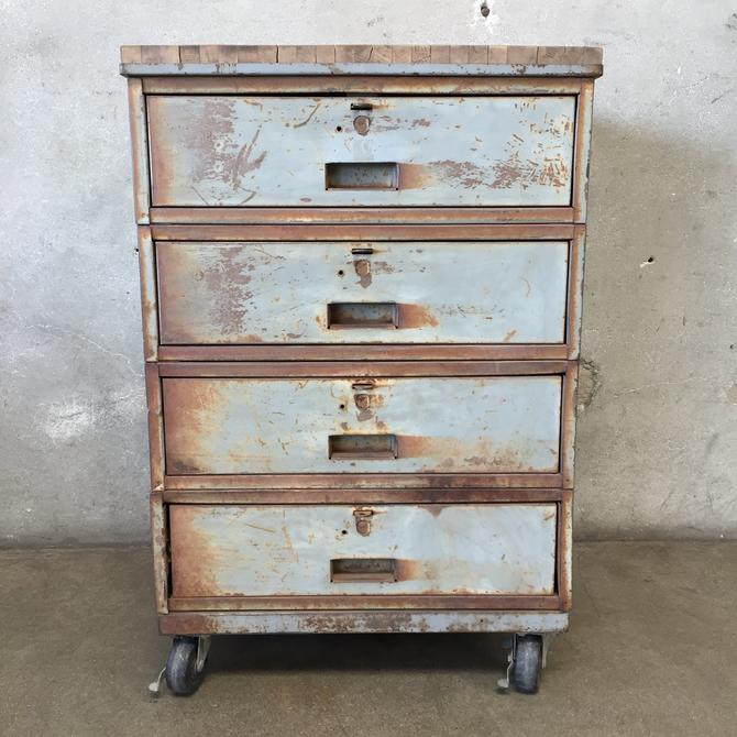 Industrial Metal & Wood Four Drawer Rolling Cabinet