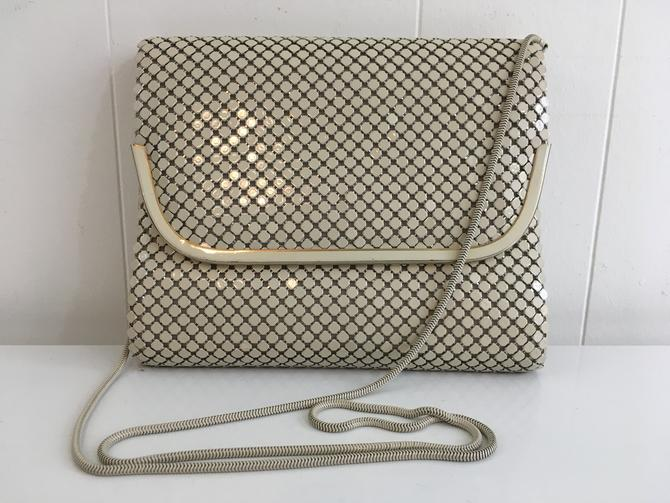Vintage Aluminum Mesh Bag Structured Handbag 1950s 1960s Cocktail Purse Beige Gray White Made in Hong Kong Metal Strap Envelope Crossbody by CheckEngineVintage
