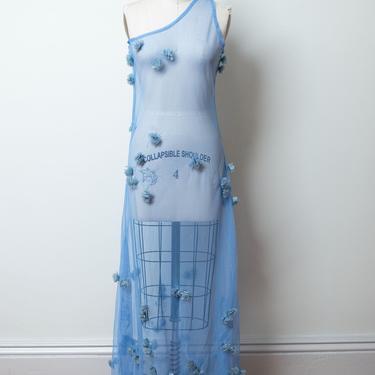 Y2K Blue Mesh Dress / Sheer One Shoulder Embroidered Appliqué Dress by FemaleHysteria