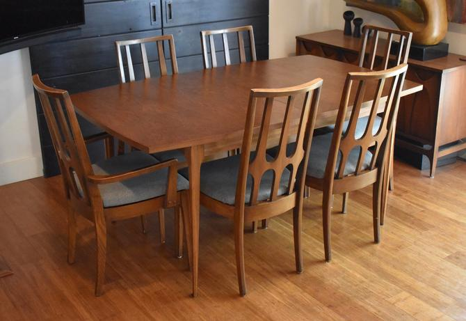 Newly-restored Broyhill Brasilia extendable dining set (table, six chairs w/new upholstery) by MidCenturyClever