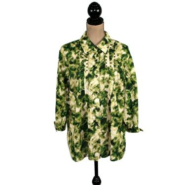 Green Cotton Blouse Large, Oversized Button Up Shirt, Collared Tunic Top, Casual Clothes for Women, Vintage Clothing from JM Collection by MagpieandOtis