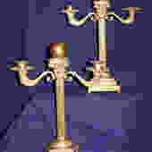 Pair of Cast Brass Candelabras