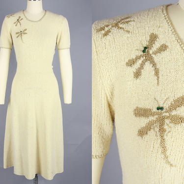 1940s DRAGONFLY Knit Dress | Vintage 40s Cream Wool Sweater Dress with Golden Accents | small by RelicVintageSF