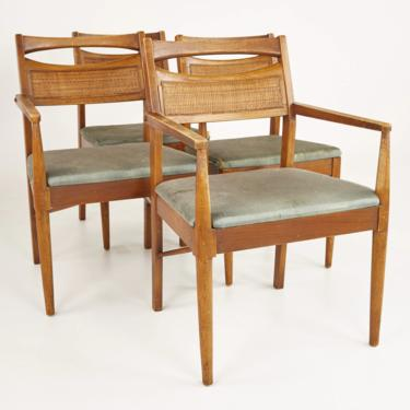 American of Martinsville Mid Century Walnut and Cane Back Dining Chairs - Set of 4 - mcm by ModernHill