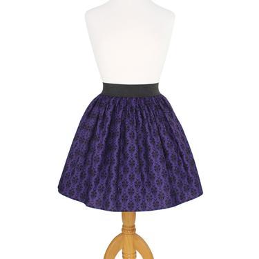 Purple Damask A-line Elastic Skirt by VintageGaleria