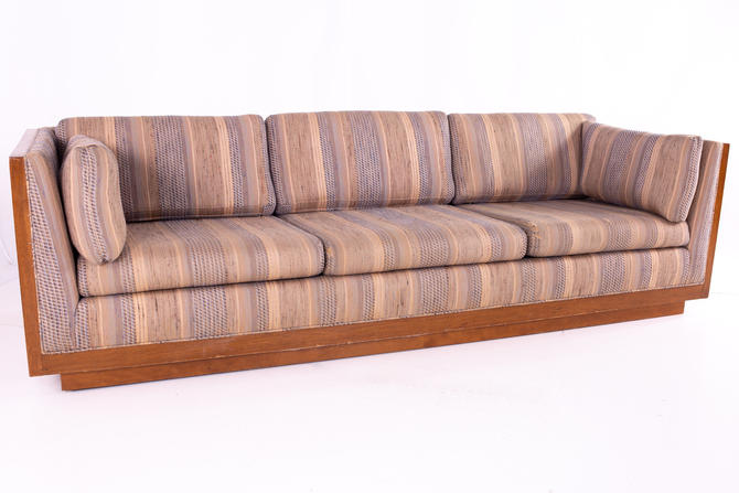 Milo Baughman Style Mid Century Walnut Floating Case Sofa - mcm by ModernHill