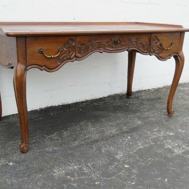 French Country Carved Oak Parque Inlay Top Writing Office Desk 2294