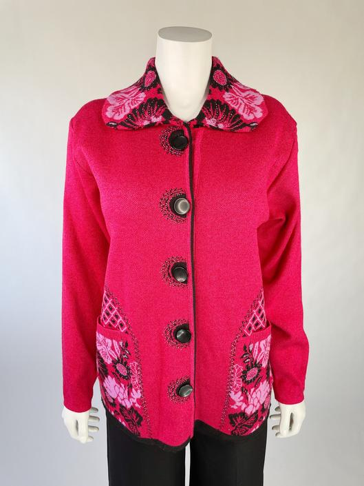 Super Soft Hot Pink Cardigan w/ Rhinestones & Big Pockets