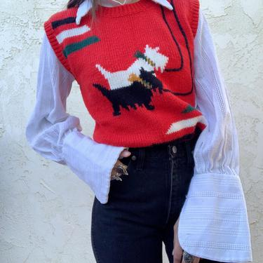 Vintage Campus Casuals of California Knitted Scotty Dog Sweater Vest by CottontailTrdPost