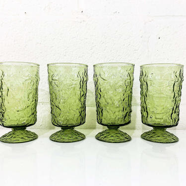 Vintage Avocado Green Anchor Hocking Lido Milano Crinkle Glass Iced Tea Glasses Set of Four Pedestal Tumblers Textured Highball 1960s 1970s by CheckEngineVintage
