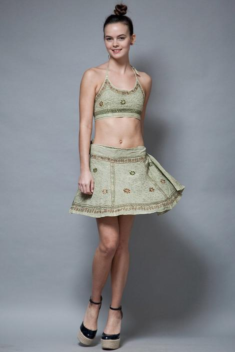 skirt outfit crop top set halter open back embroidery summer festival boho vintage ethnic one size s m l SMALL MEDIUM LARGE by shoprabbithole
