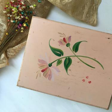 Vintage Pink Flower Wood Box, Hand Crafted Wooden Jewelry Box With Mirror, Keepsakes, Trinkets, Shabby Chic, Paris Chic by luckduck