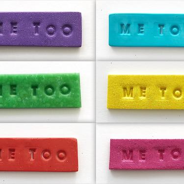 ME TOO pins. Handmade with polymer clay by ChrisBergmanDesign
