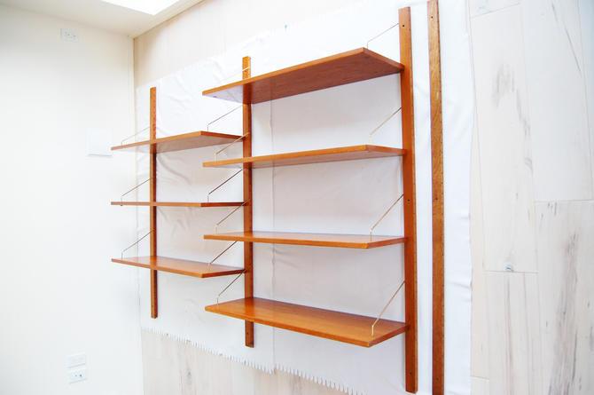 Scandinavian Modern Wall-Mount 2-3-Bay Teak Shelving System Made in Norway by MidCentury55