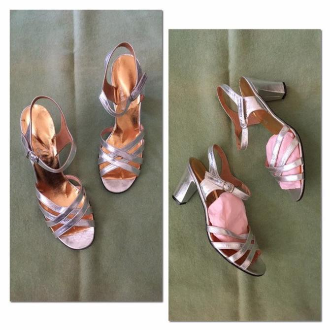 9ada33e5db9 vintage 60s metallic silver shoes - sparkly silver slingbacks   silver  leather sandals - strappy heeled